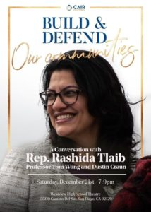 Flier for planned talk by Rep. Rashida Tlaib.
