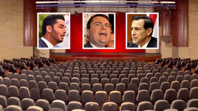 Three candidates announced so far for 50th Congressional District debate at Maxine Theater in Valley Center are (from left) Ammar Campa-Najjar, Carl DeMaio and Darrell Issa.