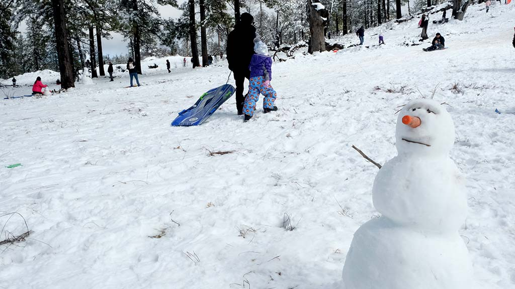 Snowmen sprouted up in play areas along Sunrise Highways in the Lagunas.