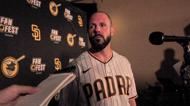 New Padres manager Jayce Tingler answers questions from the media at Padres FanFest.