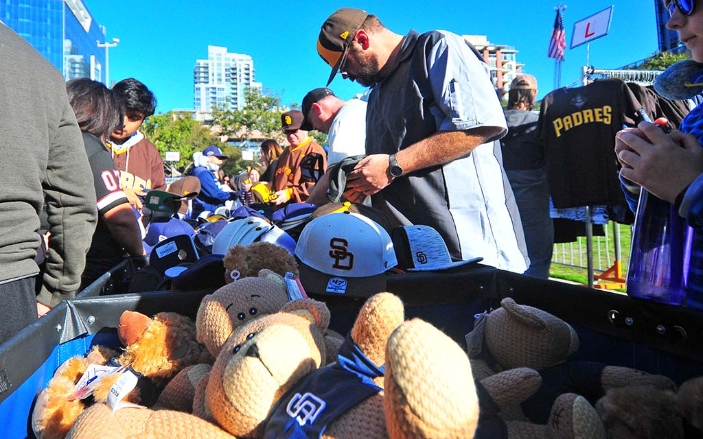 Padre merchandise in blue were on sale for half price during Padre FanFest.