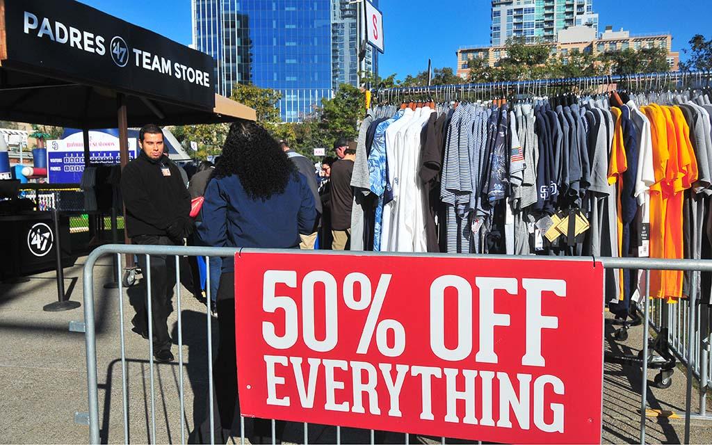 Fans took advantage of a 50 percent off sale of older Padre merchandise.