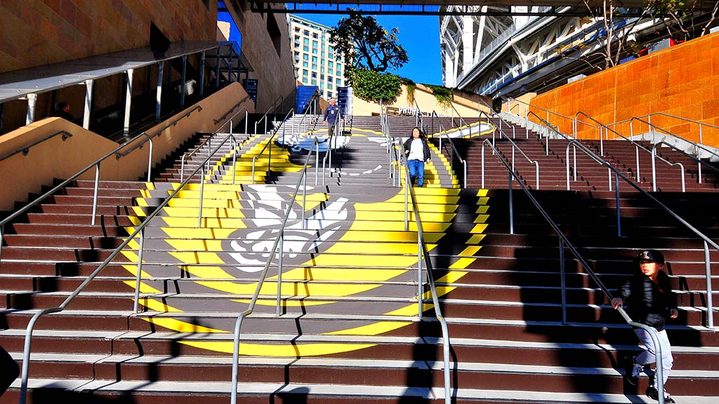 The main staircase at the opening to Petco Park has the new color theme.