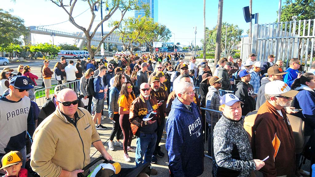 Thousands of Padre fans were waiting outside Petco Park early in the morning for the opening of 2020 Fan Fest. Photo by Chris Stone
