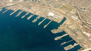 Piers at 32nd Street Naval Station, the Naval Base San Diego. Image via Wikimedia Commons