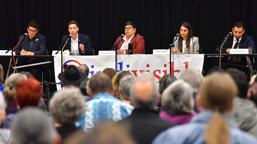 Candidates invited to the Indivisible debate (from left) were Jose Caballero, Janessa Goldbeck, Georgette Gómez, Sara Jacobs and Joaquin Vázquez.