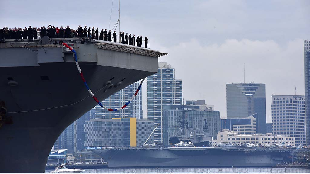 The USS Abraham Lincoln passes the USS Midway on his way to port at Naval Air Station North Island.