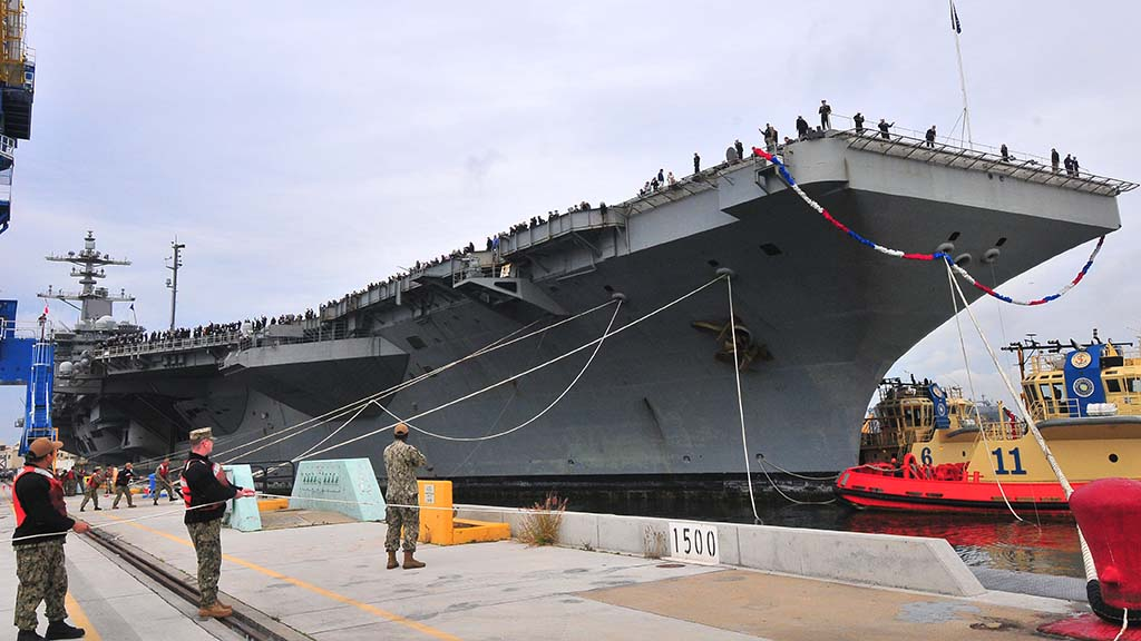 After a 10-month deployment, the USS Abraham Lincoln arrived at its new home on Coronado.