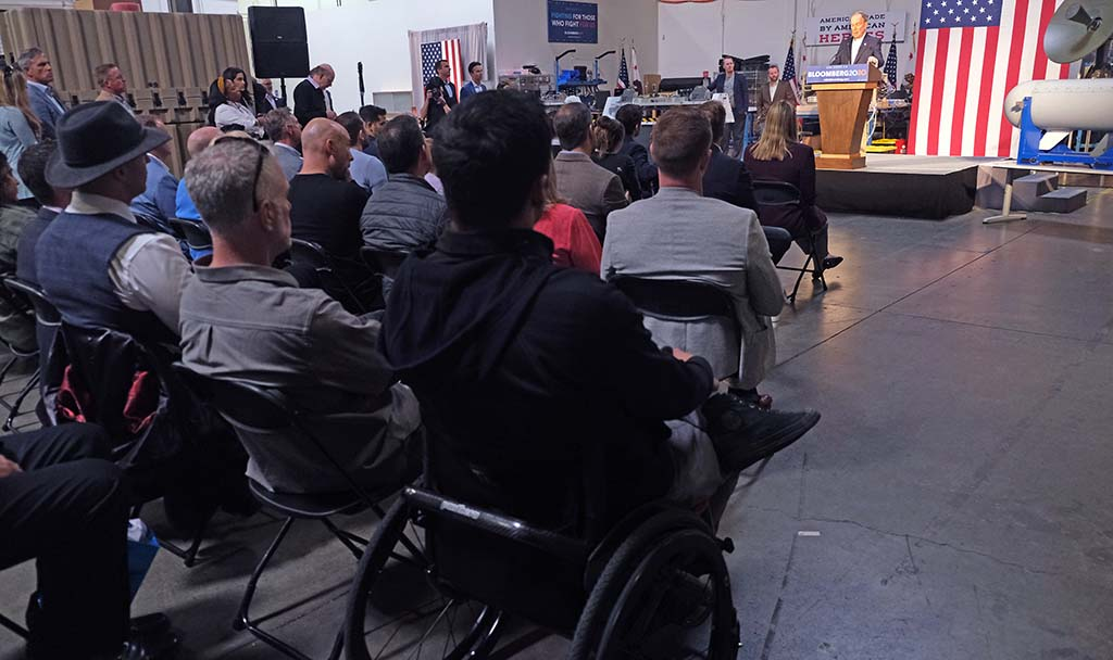 Veterans were invited to hear remarks by presidential candidate Mike Bloomberg at Fuse, a local defense department contractor.