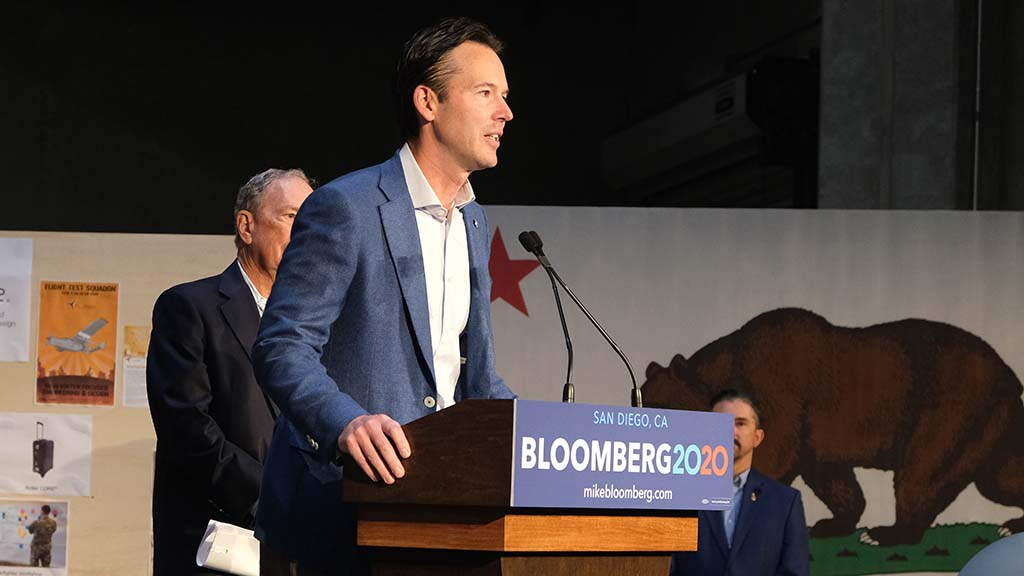 City councilman Mark Kersey endorses Mike Bloomberg for president at a gathering in Linda Vista.