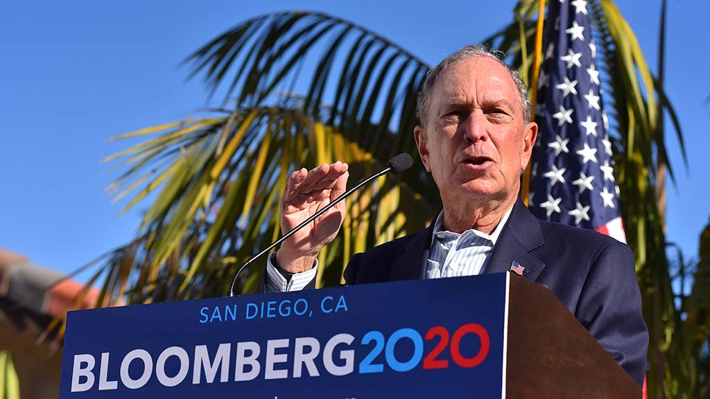 Presidential candidate Mike Bloomberg speaks about gun control measures in a speech at the home of a Sn Diego city council candidate.