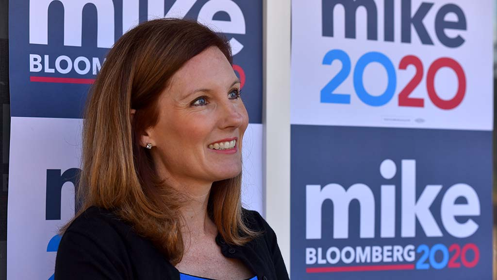 Wendy Wheatcroft, a candidate for San Diego City Council in District 7 lent her house for a gathering with Mike Bloomberg.