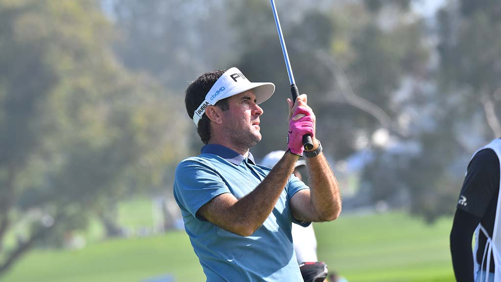 Bubba Watson plays on the Hole 1 of the south course at the Farmers Insurance Open on Thursday.