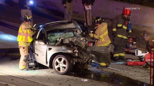 Wreckage of sedan on I-5