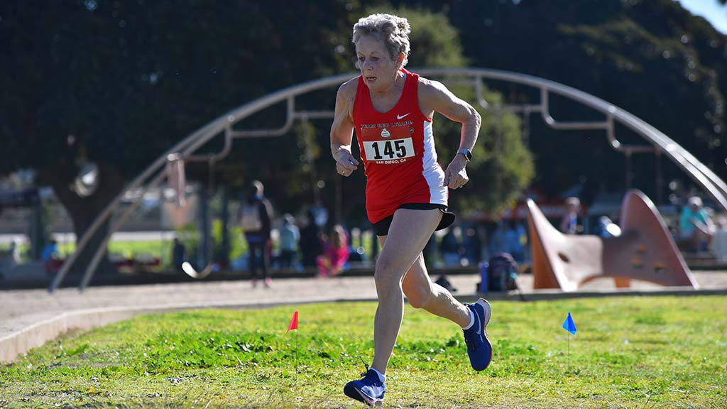 Jane Treleven of Team Red Lizard makes her final loop in the women's masters race at Mission Bay Park.