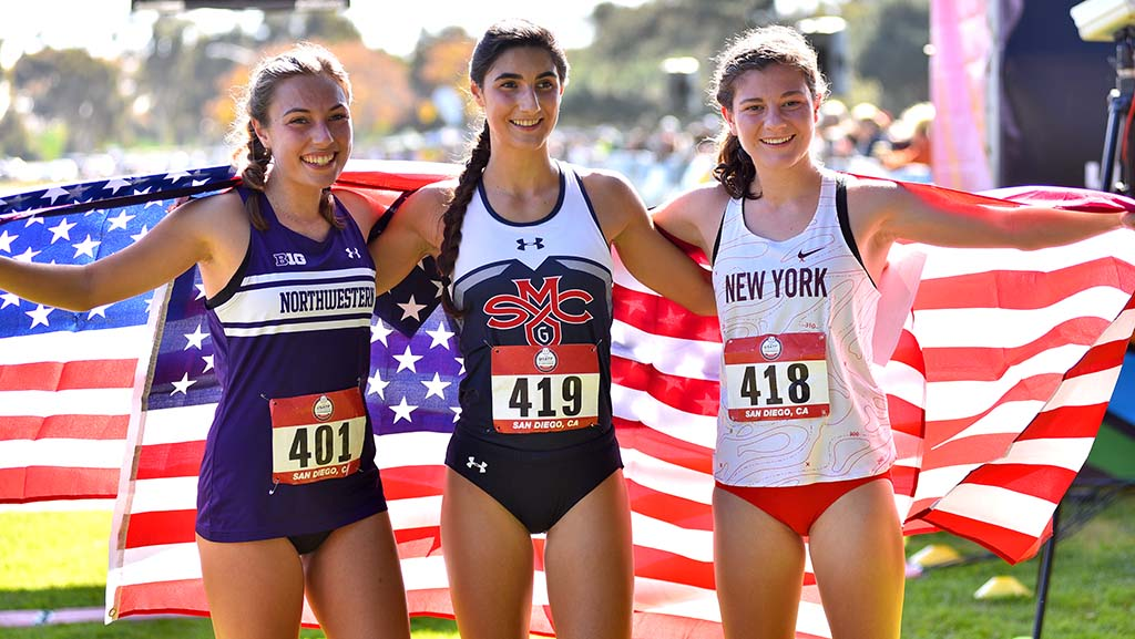Brooke Rauber (right) of Homer NY Club, Rayna Stanziano (center) of St. Mary's, and Kalea Bartolotto of Northwestern are the top three finishers in the junior women 6k race.