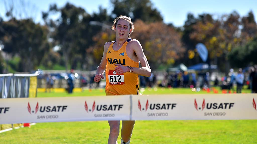 Corey Gorgas of Northern Arizona wins the junior men race in the USATF Cross Country Championships.