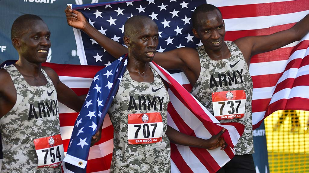 (left to right) Anthony Rotich, Emmanuel Bor and Lawi Lalang finish on top in the senior men 10k in the USATF Cross Country Championships.