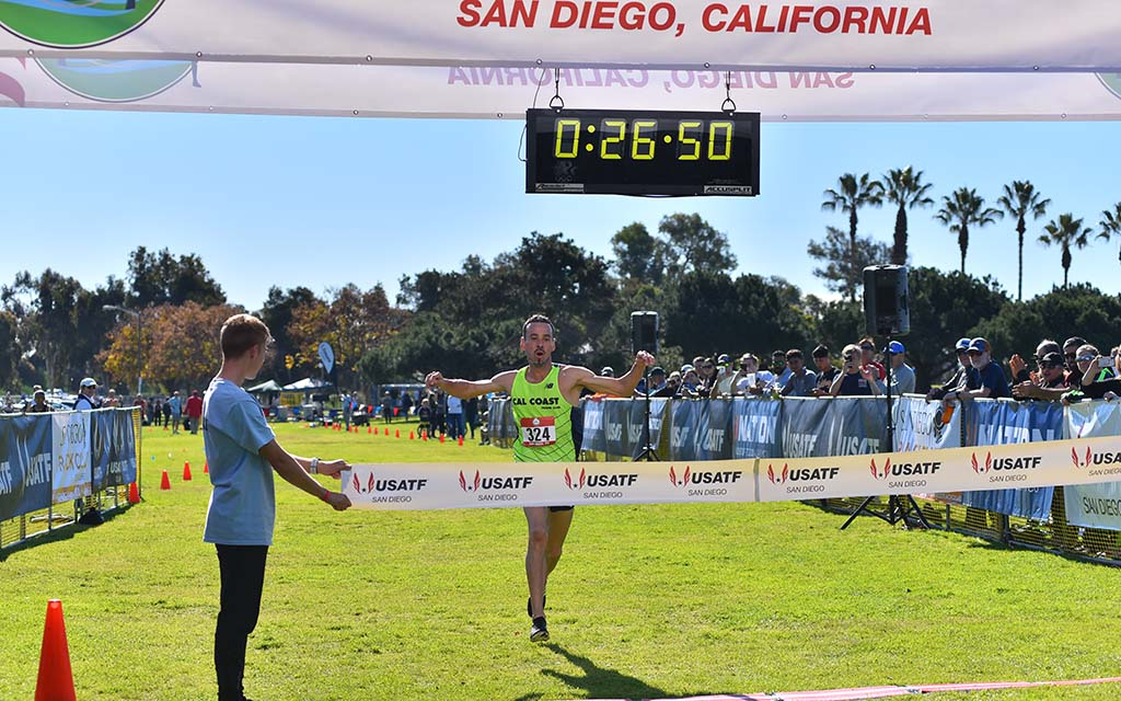 Jacques Sallberg of Cal Coast Track Club sails victory in the men's masters race at Mission Bay Park.