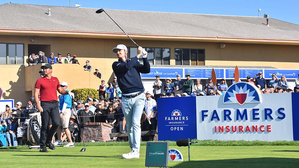Justin Rose, last year's champion, tees off on Hole 10 of the south course at the Farmers Insurance Open.