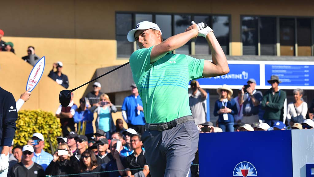 Jordan Spieth of Dallas tees off on Hole 10 of the south course at the Farmers Insurance Open on Thursday.
