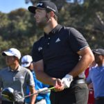 Jon Rahm of Spain watches his ball after teeing off Hole 1 of the north course at Torrey Pines Golf Course.