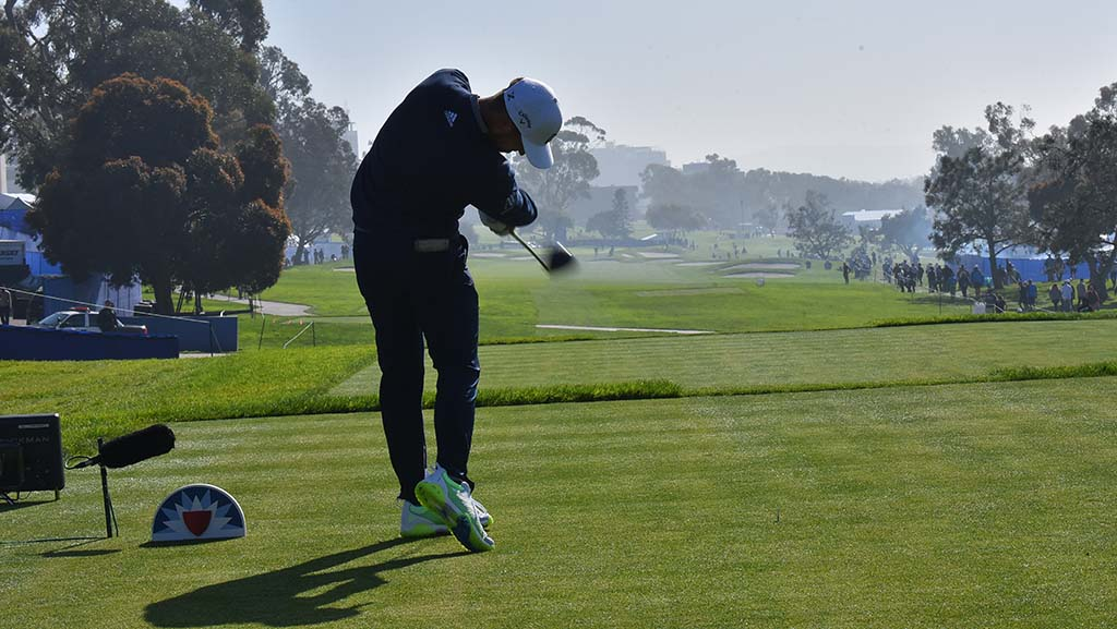 Xander Schauffele of San Diego tees off Hole 9 of the south course at Farmers Insurance Open in La Jolla.