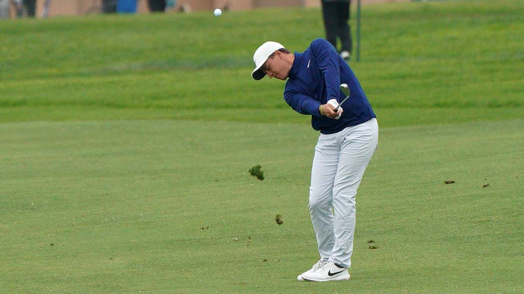Cameron Champ creates a divot in the fourth round of the Famers Insurance Open at Torrey Pines Golf Course.