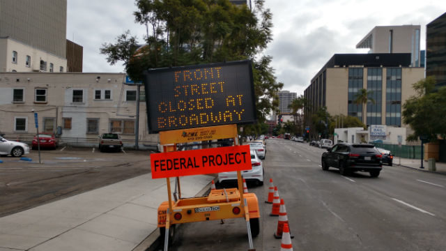 Sign warns of Front Street Closure