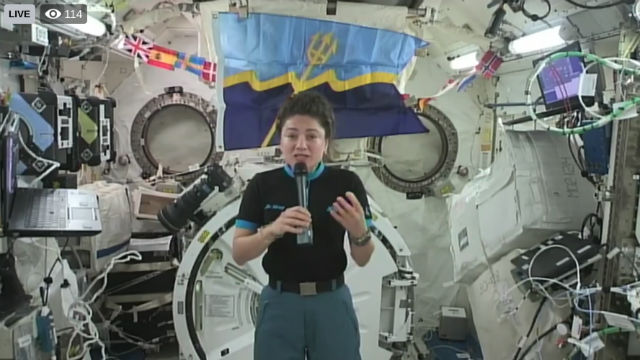 Jessica Meir speaks from the space station