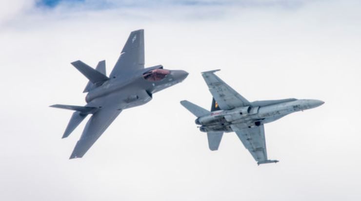 F-35C Lightning II and F/A-18 Hornet