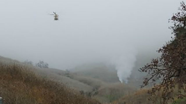 Smoke from helicopter crash