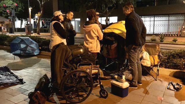 Gavin Newsom and Toni Atkins with homeless