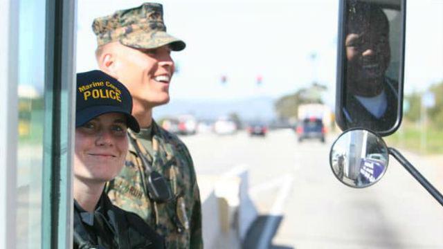 Officers at Camp Pendleton gate
