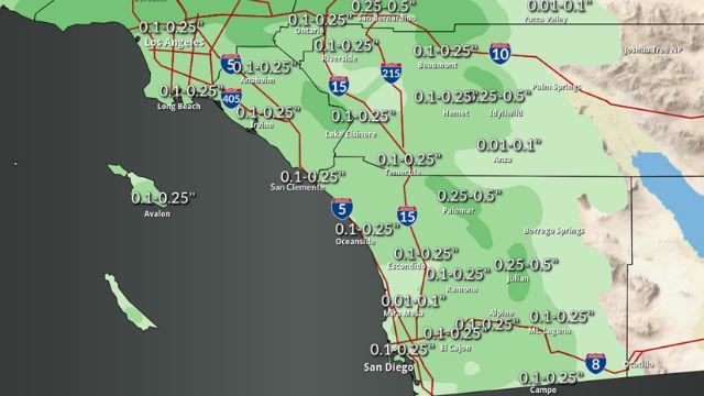 光、雨、雪の予定サンディエゴは木曜の夜に