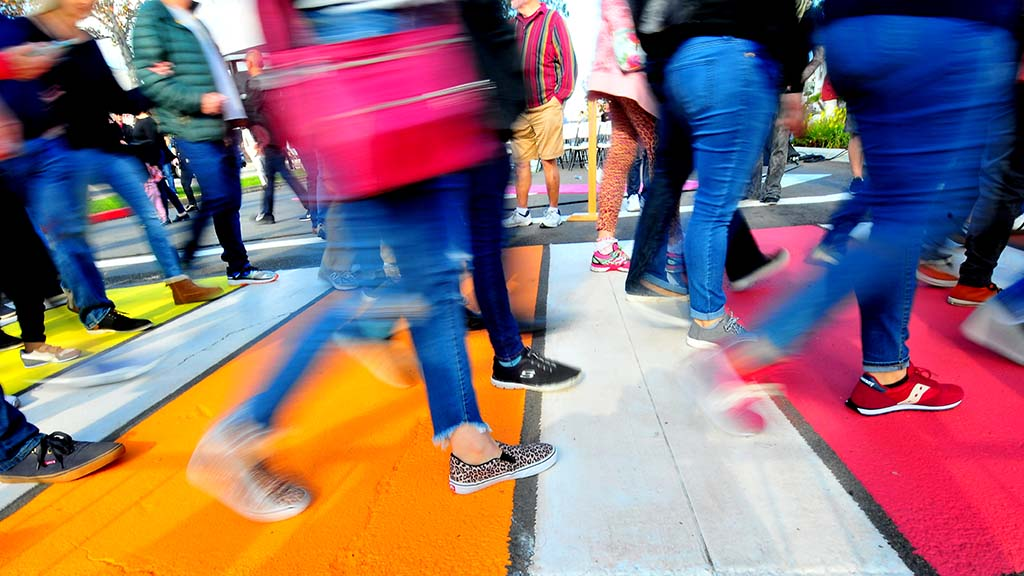 Hundreds of people gathered to celebrate the opening of the rainbow crosswalk in Hillcrest.
