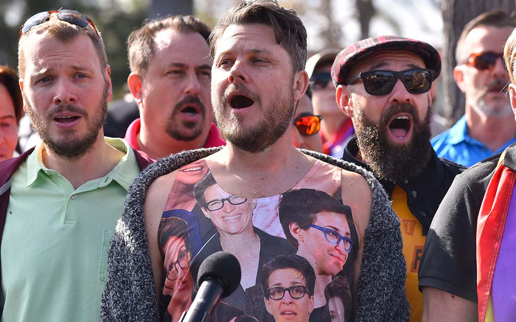 """Members of the San Diego Gay Men's Chorus sing """"Somewhere Over the Rainbow."""