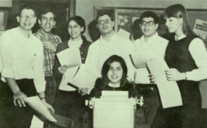 Barbara Bry (standing, third from left) worked on the student newspaper and yearbook at Lower Merion High School near Philadelphia.