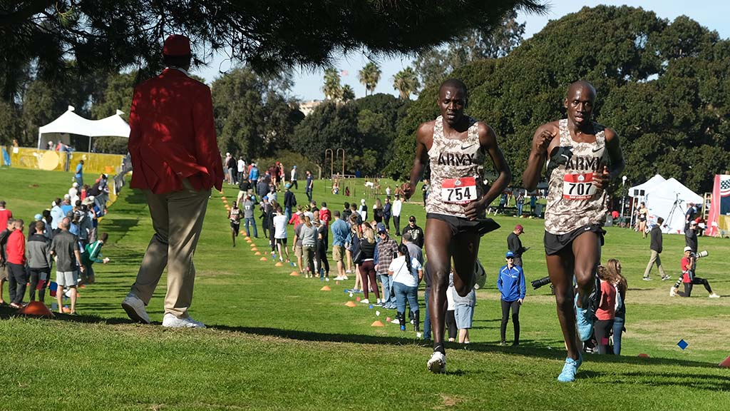 Anthony Rotich (left) and Emmanuel Bor held a 100-yard lead over third place by midway of the 10K race.