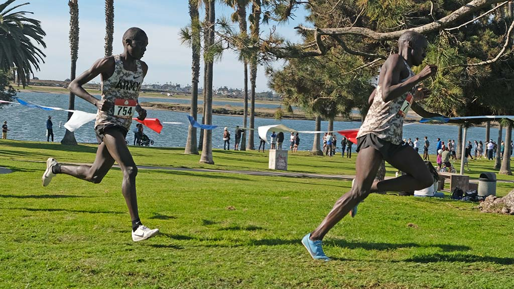 Emmanuel Bor led Anthony Rotich by a stride at points of the senior men's race.