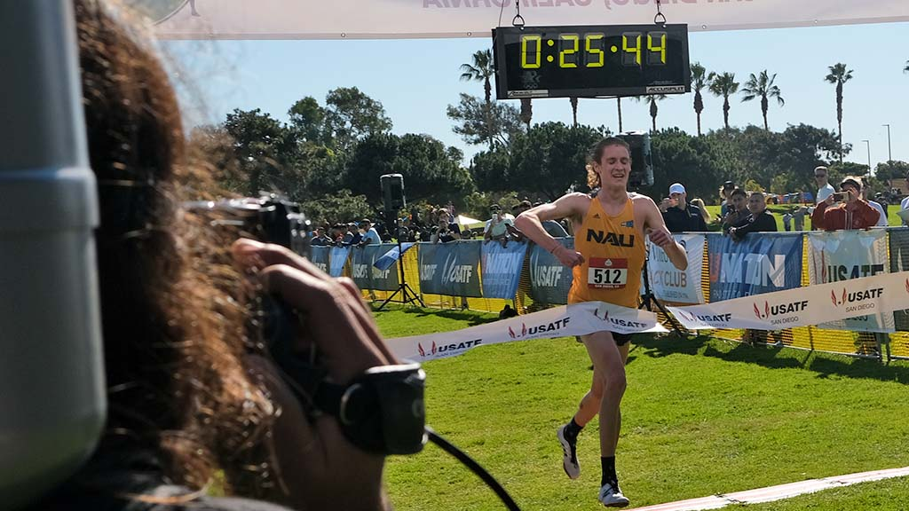 Northern Arizona University freshman Corey Gorgas wins the junior men's title by 37 seconds.