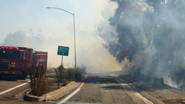 fire truck smoke highway