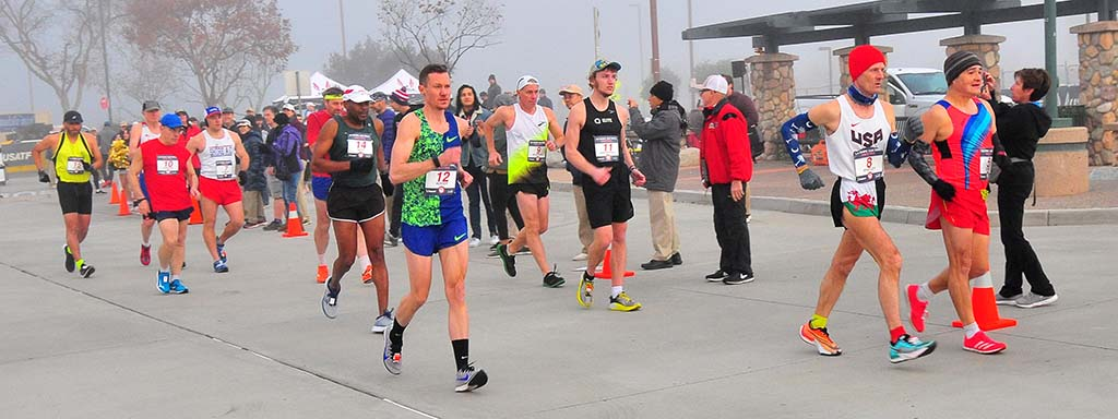 Chris Mosier was in sixth place later when he dropped out of the Olympic Trials 50K walk.