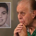 Edward Ortega, who alleges pedophile priest abuse, listens to his lawyer at Doubletree Hotel – Del Mar. Inset is his photo at the time of incidents around age 11, on display at the press conference.