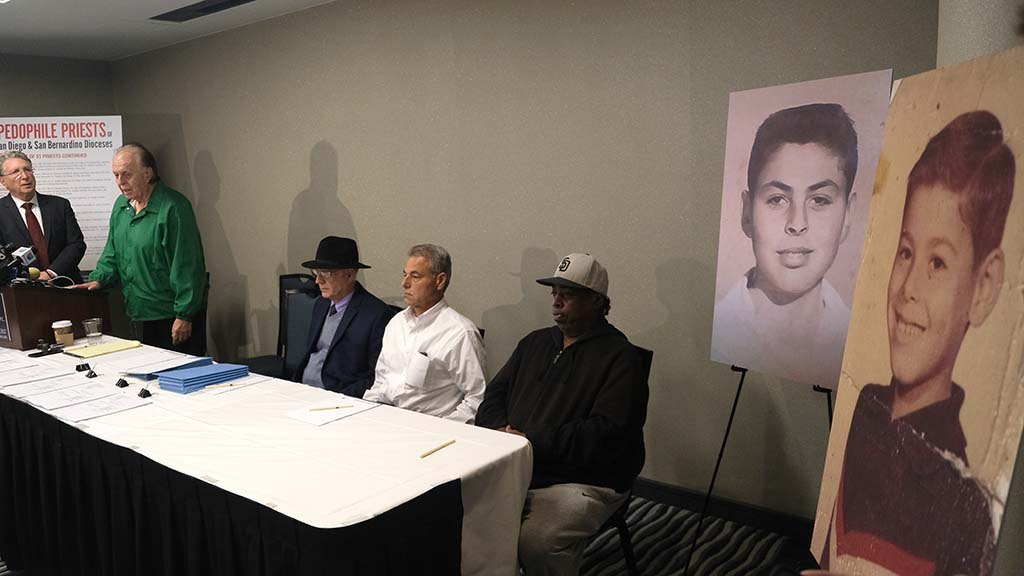 """At lectern, Edward """"Eddie"""" Ortega said he was privileged to speak for priest abuse victims, including three others at press conference who didn't detail their cases."""