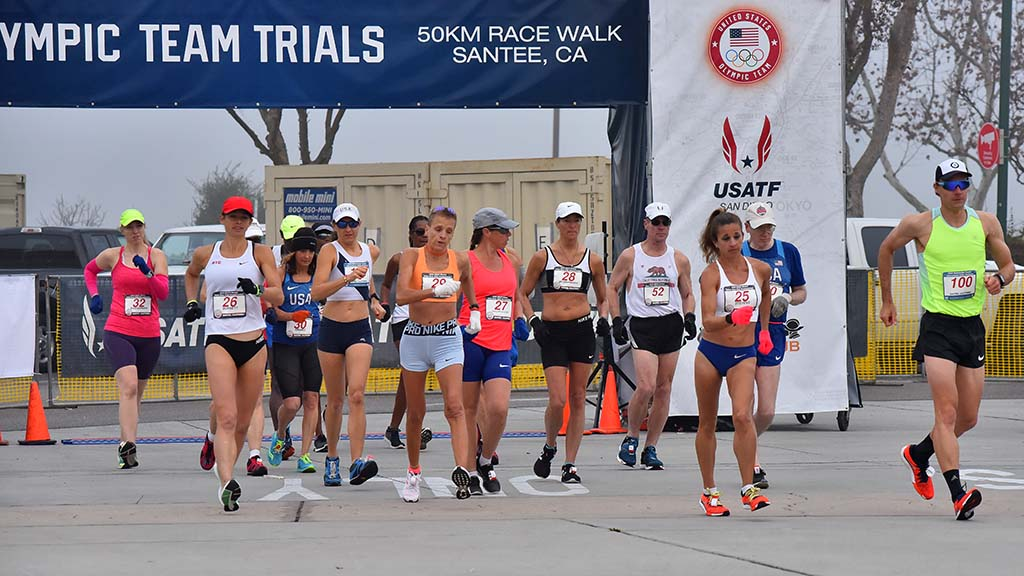 A combined women's and masters 50K race went off at 7:20 a.m. at Santee Trolley Square.