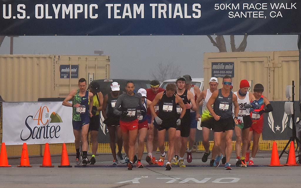 Amid temperatures in the 40s and foggy conditions, the men's 50K race walkers set off a little after 7 a.m.