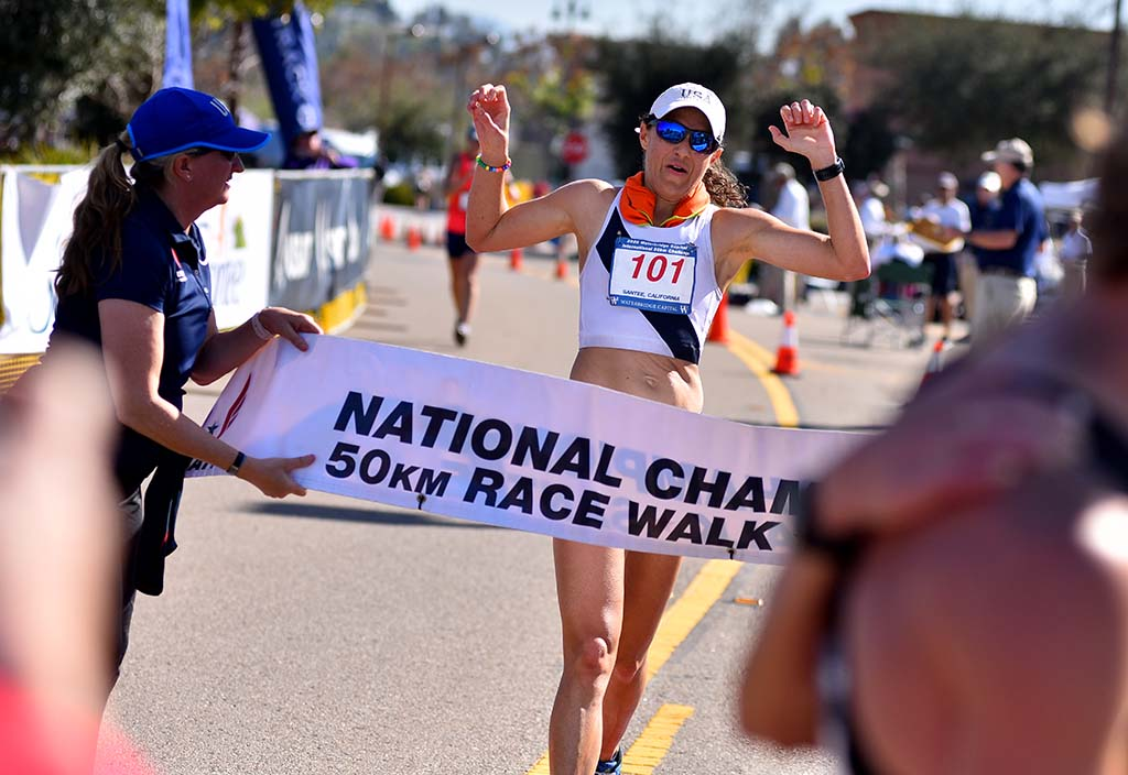 Stephanie Casey finishes her 50K race at Santee.