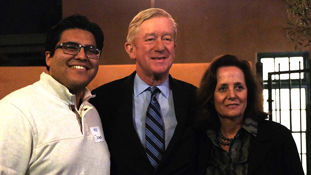 Bill Weld and his wife, Leslie Marshall, posed for selfies at end of 90-minute visit to Liberty Station coffeehouse.