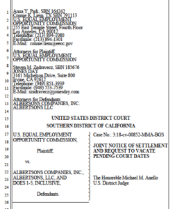 Notice of settlement in EEOC suit against Albertsons. (PDF)